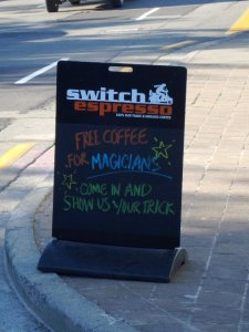 Free coffee for Magicians
