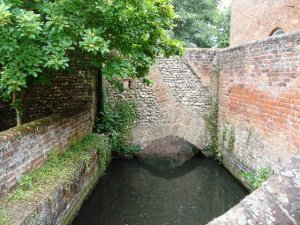 River Hiz at Hitchin Priory where Roman bricks can be seen