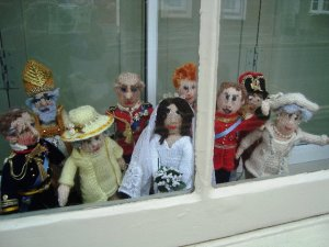 This knitted group was displayed in a window at Bridport