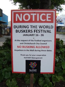 Sign about busking