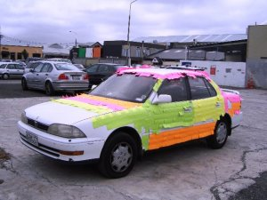 Car with post-its