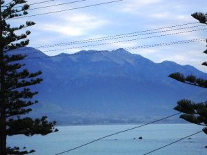 Seaward Kaikoura range from the motel.  There's snow at the very top.