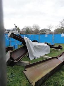 Memorial behind fence