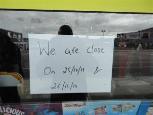 Some shops were closed (sic)