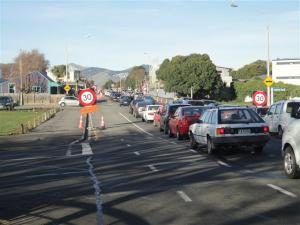 Traffic buildup in Barbadoes Street