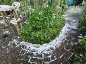 Drifts of hail