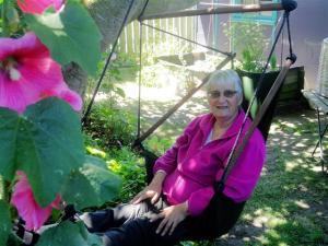 Ruth in swing seat