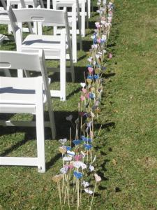 The aisle was marked with hearts ready for a ceremony