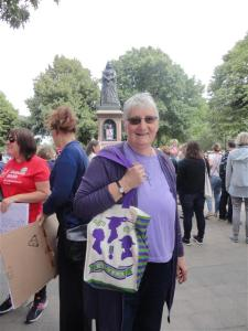Ruth ready to march (note bag)