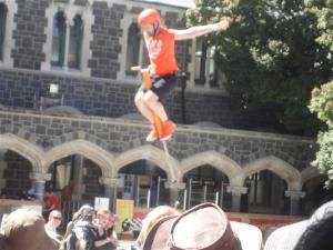 He soared above the crowd on a pogo stick